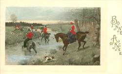 woman rider prepares to cross stream & follow the hunt left