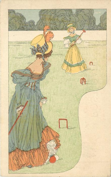 two women in dresses playing croquet