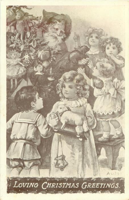 LOVING CHRISTMAS GREETINGS  Santa, tree & many children