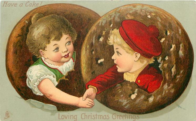 LOVING CHRISTMAS GREETINGS  boy & girl's heads in round biscuits