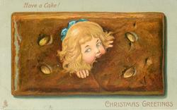 CHRISTMAS GREETING  girl's head in oblong biscuit