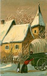 A BRIGHT AND HAPPY CHRISTMAS  old-time town snow scene, woman pushes large cart right, child follows, church back