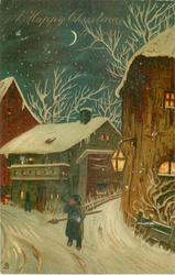 A HAPPY CHRISTMAS TO YOU  old-time town snow scene at night, man in centre front blows horn, lights