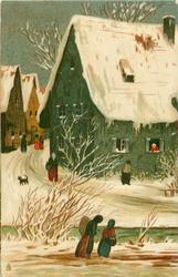CHRISTMAS GREETINGS  old-time town snow scene, two women moving right, others & dog back