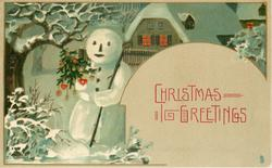 CHRISTMAS GREETINGS  snowman, snow scene, lighted cottage