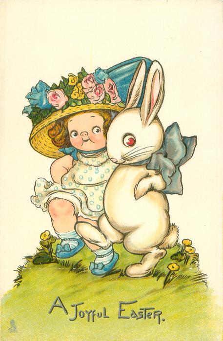 A JOYFUL EASTER  girl dances with rabbit