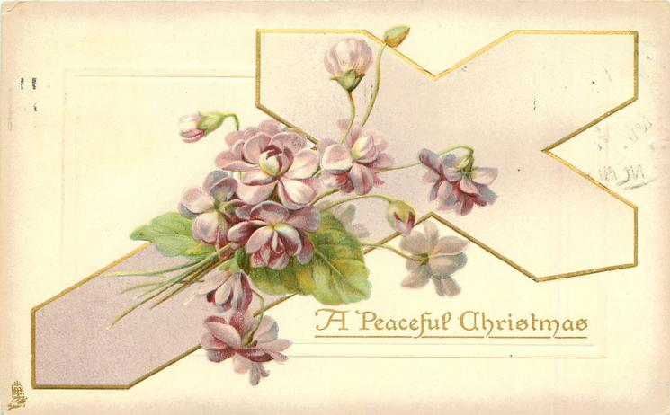 A PEACEFUL CHRISTMAS violets over pink/violet gilt cross