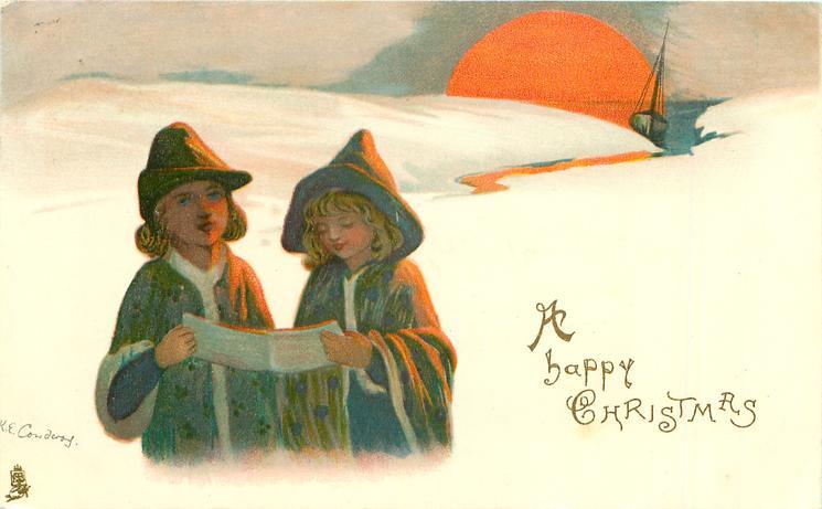 A HAPPY CHRISTMAS boy & girl sing in snow, distant sea, moon on horizon