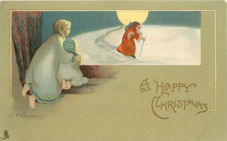 A HAPPY CHRISTMAS two girls watch Santa walking in snow, moon above horizon