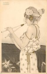 girl  faces left and plays two barreled musical pipe