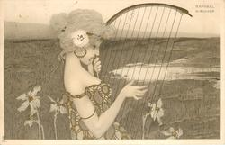 girl faces right and plays an ancient harp, water in background