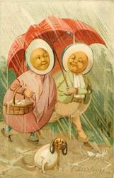 two egg-people & egg-dog walk in rain, red umbrella