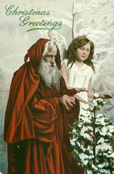 Santa left, angel right, both hold hands out over tree