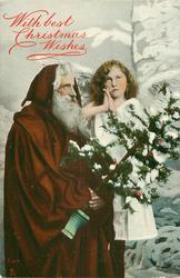 Santa left holds tree, angel right prays