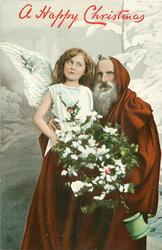 Santa right, angel left, behind tree