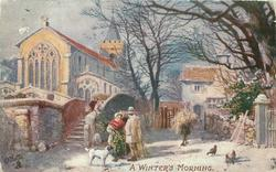 A WINTER'S MORNING  small country town scene, church left