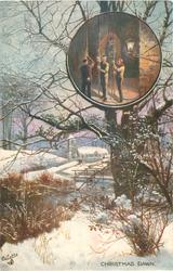 CHRISTMAS DAWN snowy rural scene, bell-ringers inset