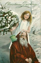 Santa seated with hands in lap, angel behind, one hand on Santa, other holds tree left