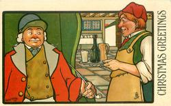 CHRISTMAS GREETINGS  publican brings drink to coachman holding long stemmed pipe