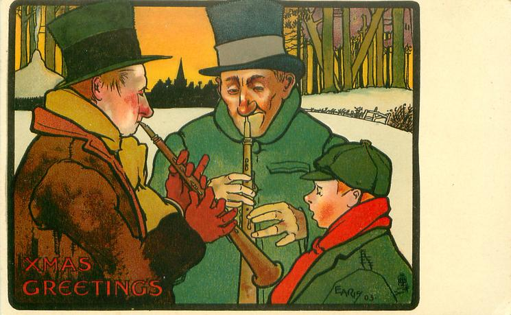 XMAS GREETINGS two men play flutes in snow, boy watches from right