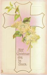 ALL CHRISTMAS JOY BE YOURS white lilac over pink cross