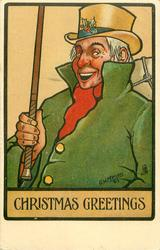 CHRISTMAS GREETINGS  man in green coat holding cane vertically and smiling