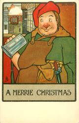 A MERRIE CHRISTMAS  workman in red hat looks at empty tankard