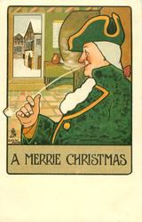 A MERRIE CHRISTMAS  man dressed mainly in green smokes very long pipe