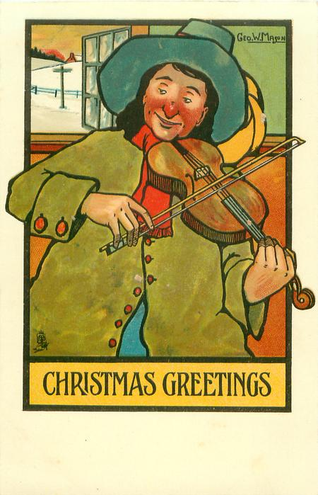 CHRISTMAS GREETINGS  man plays violin