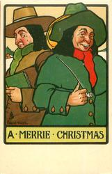 A MERRIE CHRISTMAS two men one holding a long pipe