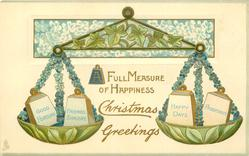 CHRISTMAS GREETINGS  A FULL MEASURE OF HAPPINESS blue forget-me-nots