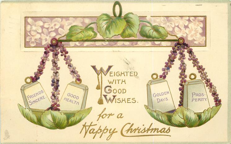 WEIGHTED WITH GOOD WISHES FOR A HAPPY CHRISTMAS purple violets