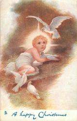 A HAPPY CHRISTMAS  Holy Child in manger, three doves