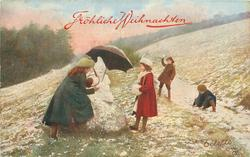 four children snowball, snowman left centre has umbrella, girl in red stands erect looking at snowman