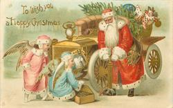 TO WISH YOU A HAPPY CHRISTMAS  angels help Santa mend puncture