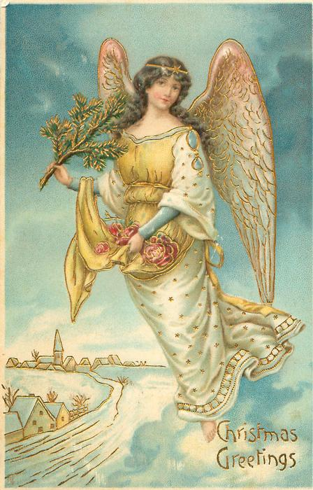Christmas Greetings Angel Carrying Tree Amp Roses Flies Over