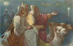 three Magi on camels, leader points to guiding star