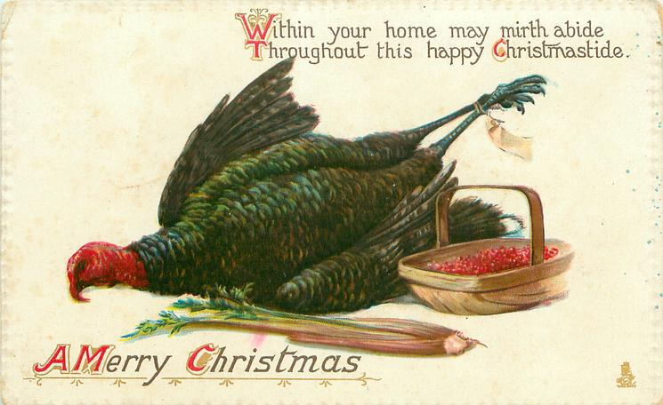 A MERRY CHRISTMAS dead turkey, basket of red-currants, celery