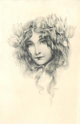 head of beautiful long haired girl with elaborate tulip headband, looks somewhat to left