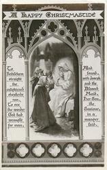 HAPPY CHRISTMASTIDE three shepherds adore Jesus who is sitting on Madonna's lap