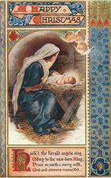 A HAPPY CHRISTMAS Jesus in manger Mary left