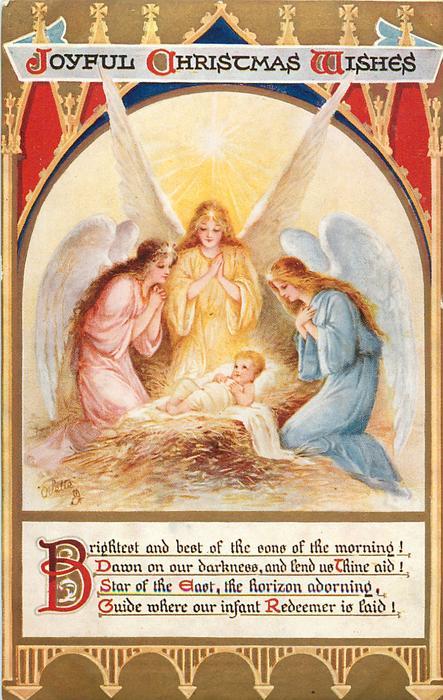 JOYFUL CHRISTMAS WISHES three angels adore Jesus
