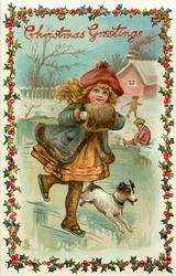 CHRISTMAS GREETINGS girl wearing muff, skates, terrier accompanies