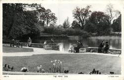 THE MERE, flowers in foreground, people in four clusters one with pram