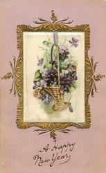 oblong silk inset  showing basket of violets