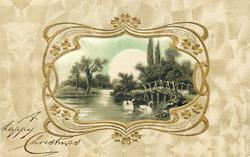 silk inset of rural water scene, swans, bridge on the right