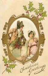 CHRISTMAS GREETINGS silk inset  lovers in old style dress, man standing on left with roses, woman sits, holly around