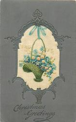 CHRISTMAS GREETINGS silk inset  basket of flowers (blue forget-me-not, white lilies-of-the-valley)