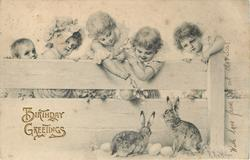five children behind fence look down at two rabbits
