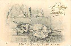 girl in bunny costume lies on stone bench, four rabbits look down on her from top of wall